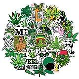 PRETTYSUNSHINE Weed Sticker Set 50 Stücke, Vinyl Stickers für Erwachsene, Graffiti Style Rauchende Aufkleber Decals für Laptop Koffer Helm Motorrad Skateboard Fahrrad Coole Sticker