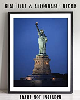 Statue of Liberty-Ellis Island- 8 x 10 Wall Art Print Ready to Frame- Home Décor, Office Décor & Wall Print. Makes a Perfect Wall Art Decoration for Patriotism & Freedom.