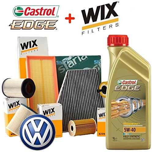 Kit de revisión de aceite Castrol Edge 5W40de 5 litros, 4filtros de...
