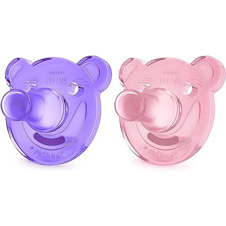 Philips Avent Soothie - Pack de 2 Chupetes calmantes de silicona médica, sin BPA, de 0 a 3 meses, niña, color morado y rosa