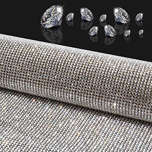 18000pcs Bling Crystal Rhinestone DIY Self Adhesive Car Decoration Stickers Cellphone Decals 9.45x15.75inch - Silver