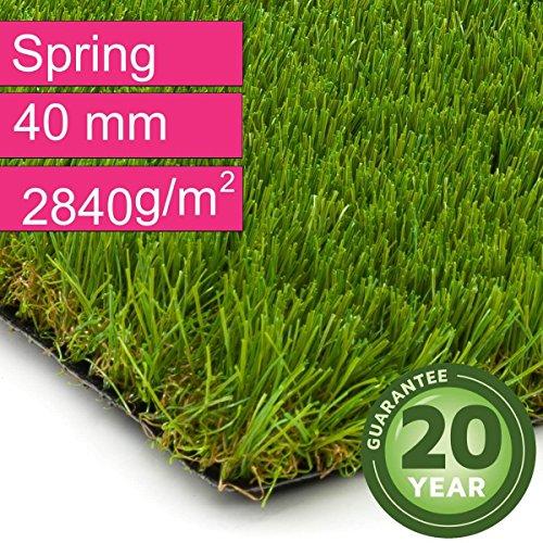 Kunstrasen Rasenteppich Spring für Garten - Florhöhe 40 mm - Gewicht ca. 2840 g/m² - UV-Garantie 20 Jahre (DIN 53387) - 2,00 m x 6,50 m | Rollrasen | Kunststoffrasen