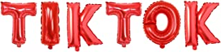 HONGFENG 16 Inch Aluminum Foil Party Balloons for TIK Tok Theme Party Balloon Supplies Tiktok Birthday Decoration(Red)