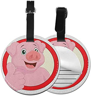Modern round luggage tag Cartoon Hanging on the suitcase Pig Mascot with Thumbs Up Animal Illustration with a Circular Frame,Diameter3.7