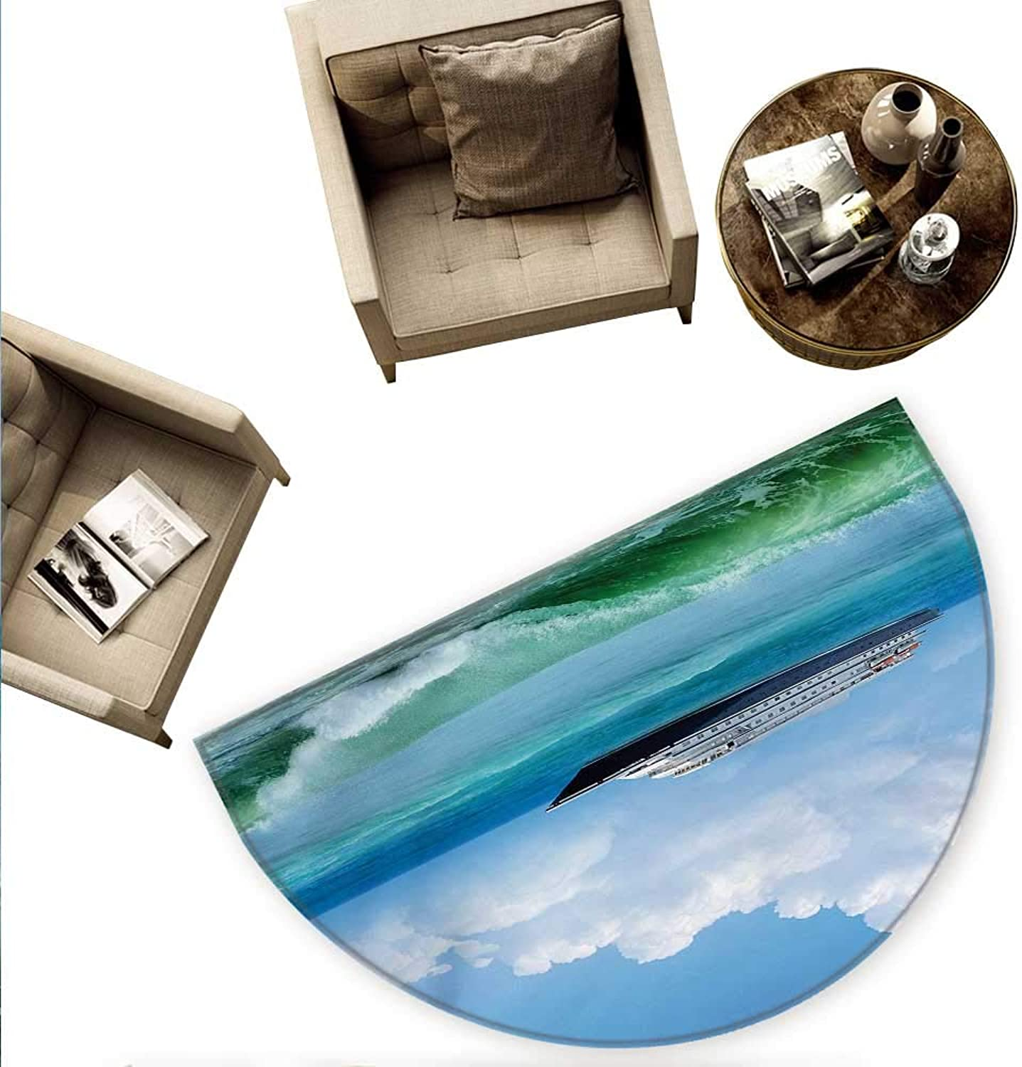 Nautical Semicircle Doormat Traveling Themed View of Ship in The Aquatic World with Fluffy Clouds Day Time Landscape Halfmoon doormats H 55.1  xD 82.6  bluee