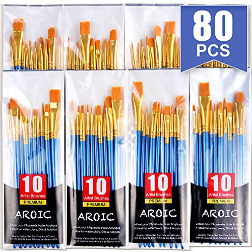 Paint Brush Set, Nylon Hair Brushes for Acrylic Oil Watercolor Painting Artist Professional Painting Kits (8 Packs of 80PCS)