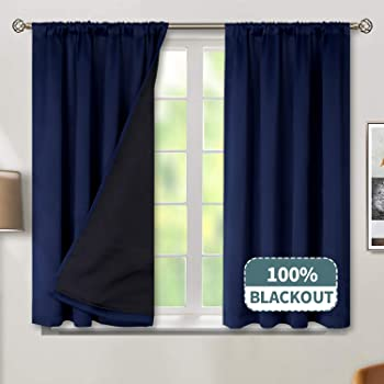 BGment Thermal Insulated 100% Blackout Curtains for Bedroom with Black Liner, Double Layer Full Room Darkening Noise Reducing Rod Pocket Curtain (52 x 45 Inch, Navy Blue, 2 Panels)