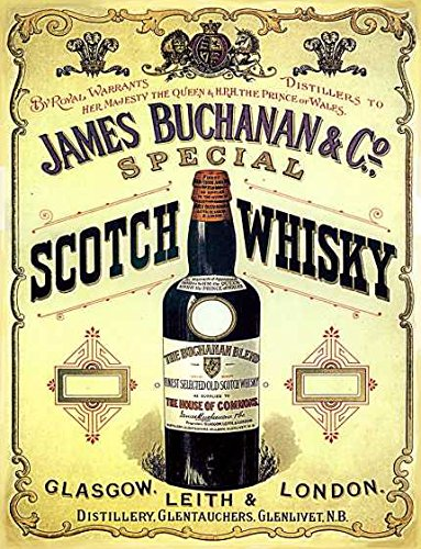 James buchanan speciale glasgow london scotch whisky retro shabby chic vintage stijl ingelijst print vintage stijl foto muur plaque teken (A5)