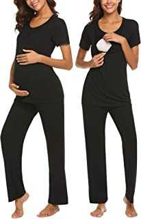 Cotton Nursing/Labor/Delivery Maternity Pajamas Set for Hospital Home, Basic Nursing Shirts, Pregnancy Pants