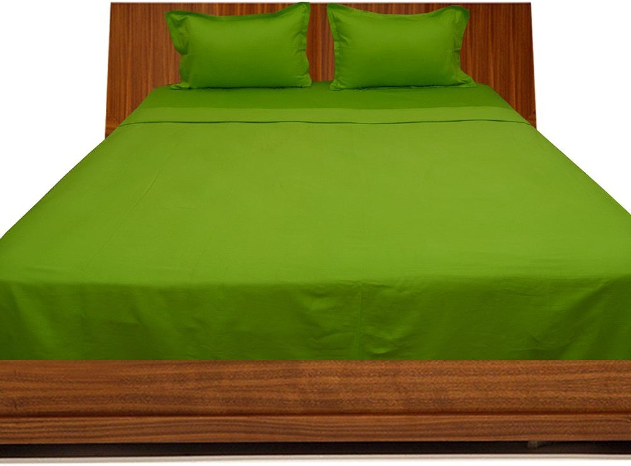Laxlinens Drap de lit 4pièces en coton égypcravaten 200fils (+ 61cm) très profond Euro grand Poche Simple, Parrouge Vert massif