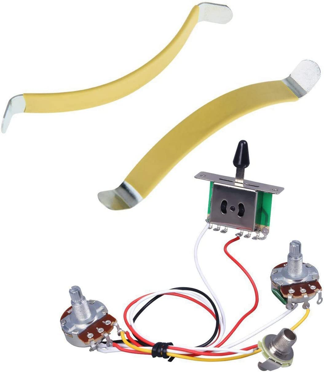 Vrttlkkfe 2 esparcidores de cuerdas de metal para guitarra Luthier y 1 arnés para guitarra, interruptor de palanca de 3 vías 1V1T 500K