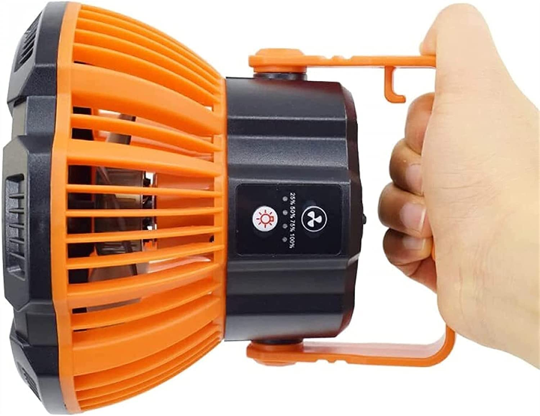 WXFCAS DIRIGIÓ Ventilador de Techo de luz de Campamento Tienda portátil Ventilador de luz con Gancho Colgante USB Carga por la Linterna de la luz de Pesca (Color: Naranja) (Color : Orange)