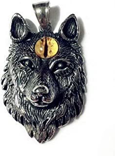 Wolf Head Necklace Pendant, LOYEH Animal Power Norse Viking Amulet Necklaces Pendants Men Women Gift Jewelry 1.9 x 1.3 Inches