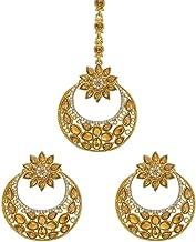 Bindhani Women's Indian Bollywood Style Jewellery Hair Accessories Maang Tika Headpiece Bridal Bridesmaid Wedding Traditional Bahubali Chandbali Gold Plated Kundan Earrings Mang Tikka Jewelry