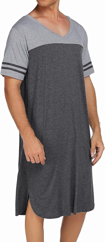 FUNEY Mens Kurta Henley Shirts Kaftan Robe V Neck Long Sleeve Light Plain Gown Pajama Casual Shirt for Beach, Summer
