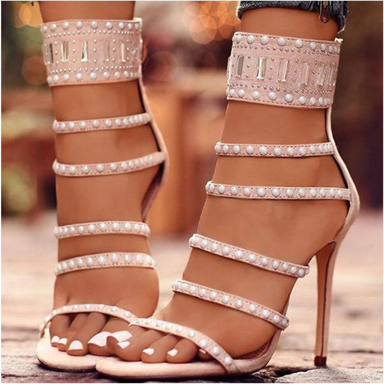 Dance shoes Women Rhinestone Ballroom Sandals, Elegant Party shoes Women Heel 8cm,Apricot,5.5US