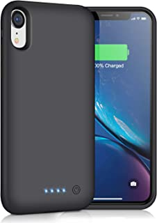 Battery Case for iPhone XR,Trswyop 6800mAh Portable Charging Case for iPhone XR Rechargeable Backup External Battery Pack Extended Battery Protective Charger Case(6.1inch)-Black