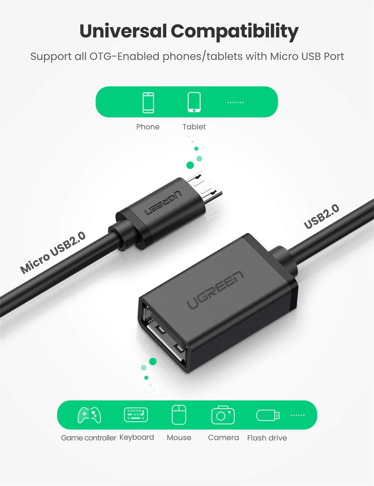PRO OTG Cable Works for Huawei Ascend G6 Right Angle Cable Connects You to Any Compatible USB Device with MicroUSB