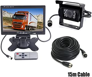 """7"""" Car LCD Monitor Caravan Rear View Kit + 4Pin Waterproof CCD Vehicle Reversing Backup Camera for Bus/Trailer/Truck with 15M Video Cable 12V-24V"""
