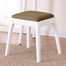 Wood Step Stool Square Dressing Bench Padded Vanity Stool Piano Shoe Bench Wooden Solid Color Dressing Table Stool Dining ...