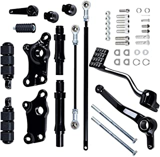 Compatible with Harley Sportster XL883 XL1200 1991-2003 Forward Controls Kit Black Pegs Levers Linkage
