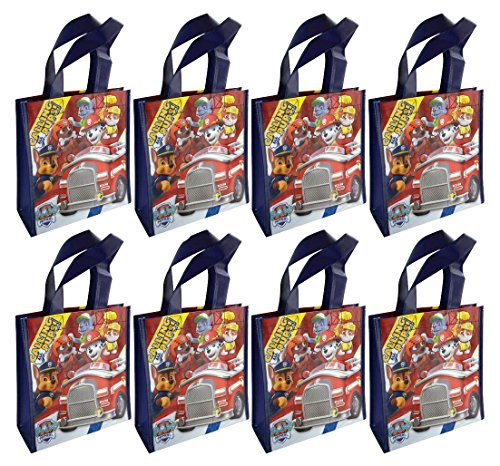 Paw Patrol 8-Pack Reusable 8' Tote Bags/Party Favor Goodie Treat Bags, Navy, Multi