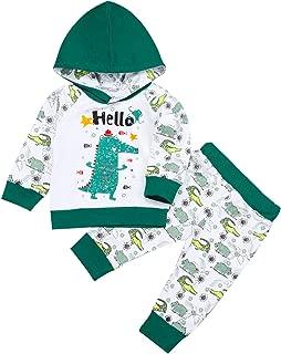 Newborn Toddler Baby Boys Clothes Rhinoceros Crocodile Hoodie Sweatshirt T-Shirt Tops+Pants Outfits Sets