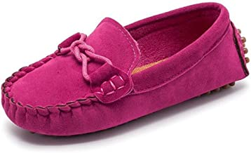 Bumud Girl's Boy's Moccasin Faux Suede Slip-On Loafers Shoes(Toddler/Little Kid)