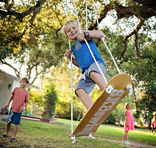 Sk8Swing | The Original Wooden Skateboard Tree Swing | Perfect for Outdoor Kids Swing or Play Sets