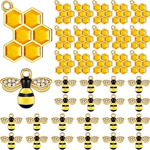 60 colgantes de abeja con diamantes de imitación de aleación de esmalte de nido de abeja para hacer joyas, colgantes, manualidades, pendientes, collares y pulseras