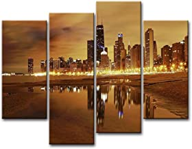 Canvas Print Wall Art Painting For Home Decor Modern City Chicago Skyline United States City Skyline Skyscrapers 4 Pieces Panel Paintings Modern Artwork The Picture Living Room DecorPrints On Canvas