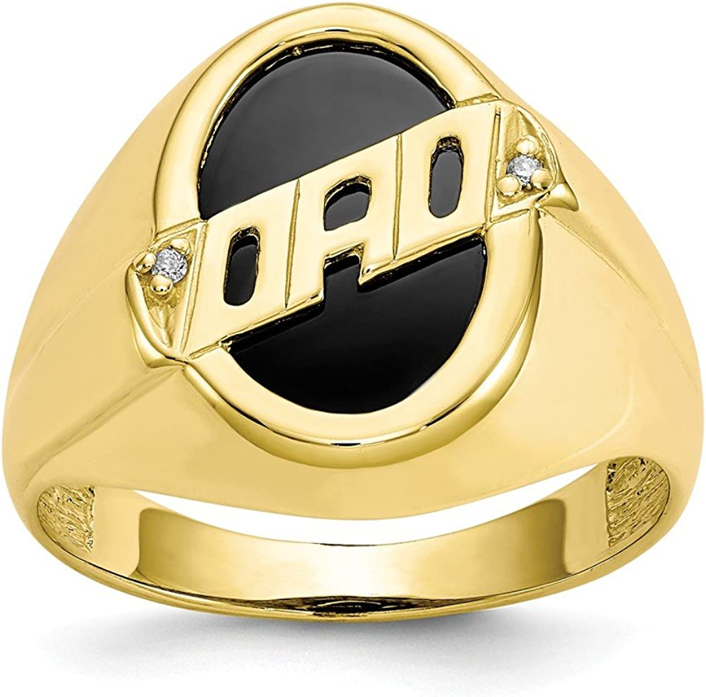 10k Yellow Gold Mens Diamond Black Onyx Dad Band Ring Size 10.00 Man Fine Jewelry For Dad Mens Gifts For Him