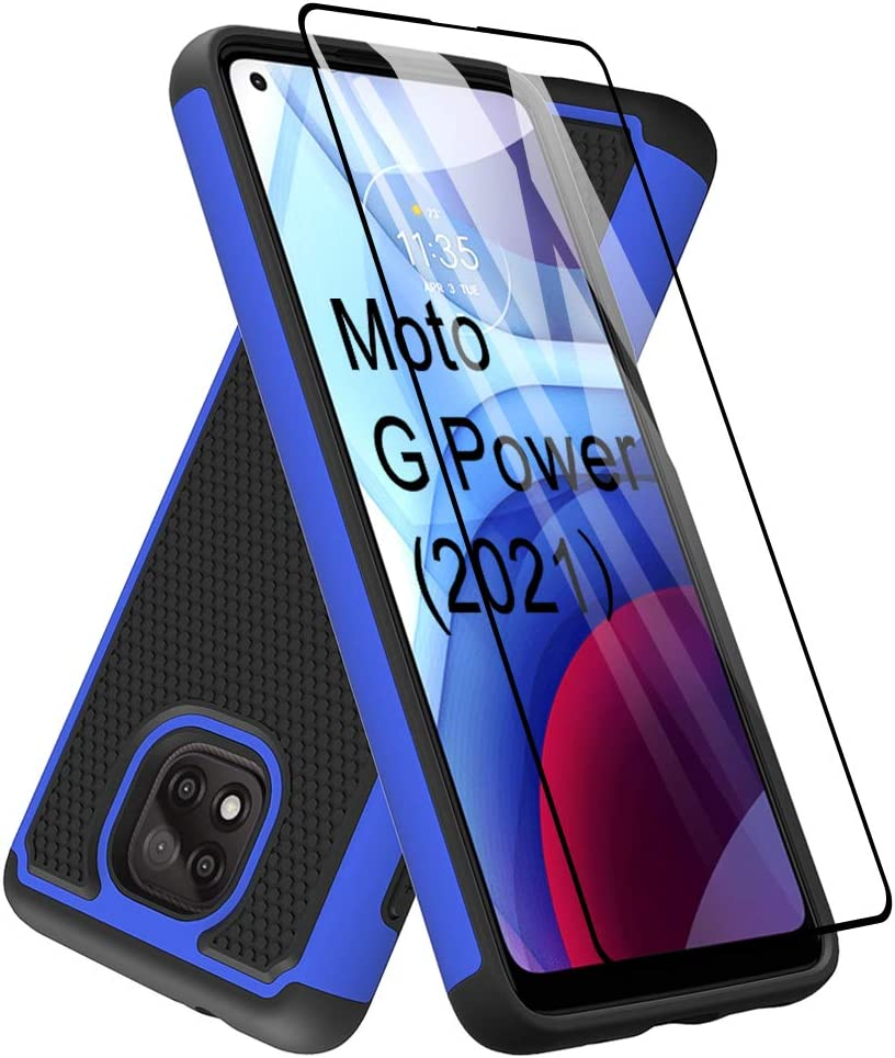 Dahkoiz Case for Moto G Power 2021 Case[NOT for Moto G Power 2020] with Tempered Glass Screen Protector,Durable Defender Armor Cover Sturdy Protective Phone Cases for Motorola Moto G Power 2021, Blue