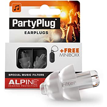 Alpine PartyPlug Music Ear Plugs – Noise Reduction Ear Plugs for Concerts, Parties and Festivals - Hypoallergenic Reusable Musician Ear Plugs for Noise Reduction, Transparent