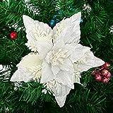 HanOBC 10 flores de Navidad con purpurina con clips de 6.3 pulgadas de seda de Poinsettia decoraciones de árbol de Navidad, flores artificiales blancas de Navidad para manualidades, guirnaldas