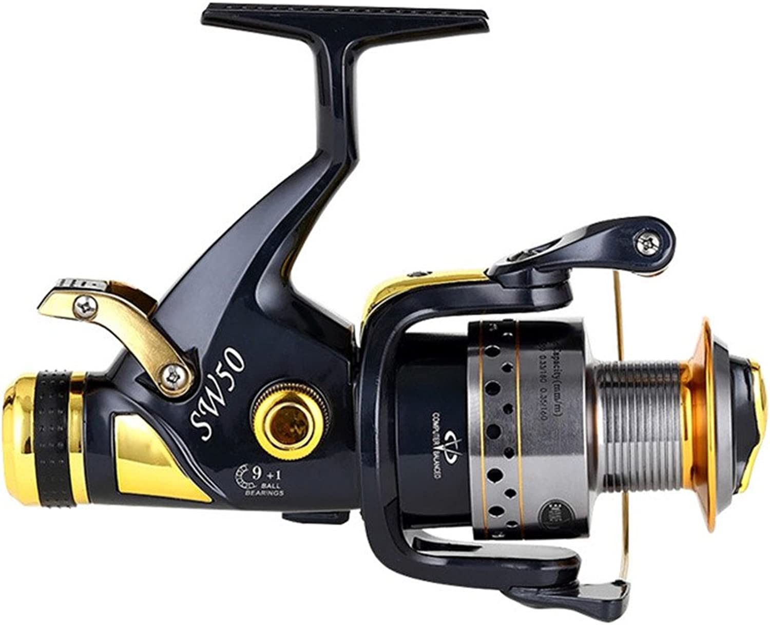 Smooth Spinning Reel Fishing Reel Hand Wheel Spinning Fishing Reel 10+1 Bearings Left Right Interchangeable Handle for Saltwater Freshwater Fishing with Double Drag Brake System Fishing Gear Fishing T