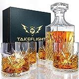 Whiskey Decanter Set & Whiskey Glasses - Whiskey Glass Set & Decanter Set   Liquor Decanters for Alcohol with...