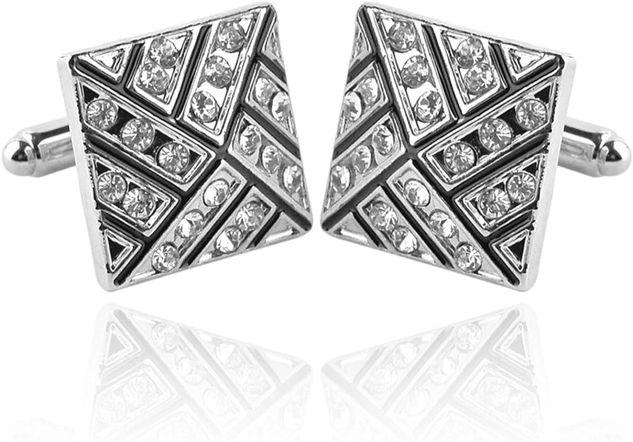 GH8 Mens Classic Stainless Steel Cufflinks Cufflinks Business Wedding Shirts - Rhinestone PXH10#
