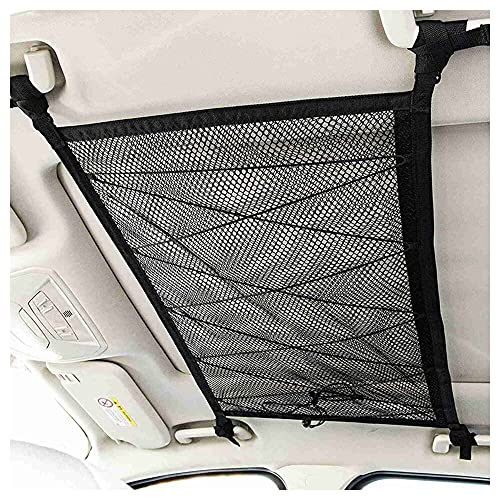 Duyifan Car Ceiling Cargo Net Pocket, Car Roof Storage Mesh Bag, Adjustable Double-Layer Mesh with Zipper Buckle, Draw The Rope to Increase The Bearing Capacity