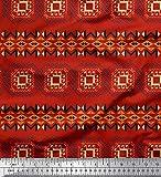 Soimoi Rot Baumwolle Batist Stoff geometrisch afrikanisch