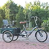 Triciclo para adultos bicicleta Triciclo Para Adultos Deportes Al Aire Libre 3 Ruedas Bicicletas De 20 Pulgadas Tres Ruedas Crucero Bicicleta Con Cesta De Compras Y Asiento Trasero(Color:Verde oscuro)