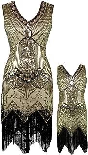 AMJM Mommy and me 1920s Gastby Sequin Art Nouveau Embellished Fringed Flapper Dress