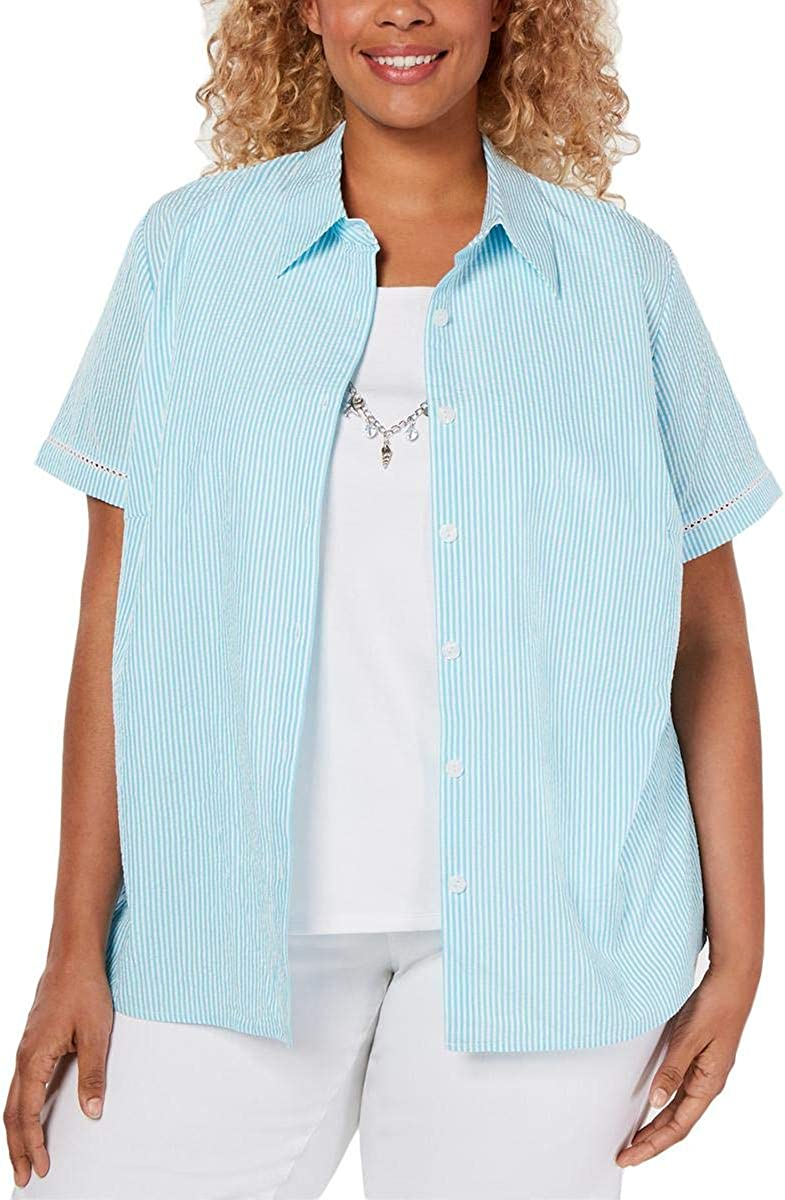 Alfred Dunner Womens Plus Striped Collar Button-Down Top