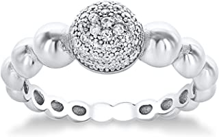 Montage Jewelry Antique Women's Ball Design Cubic Zirconia & Sterling Silver Ring