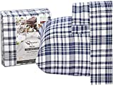 Ruvanti 100% Cotton 4 Piece Flannel Sheets Full Blue White Plaid Deep Pocket -Warm-Super Soft - Breathable Moisture Wicking Flannel Bed Sheet Set Full Include Flat Sheet, Fitted Sheet 2 Pillowcases