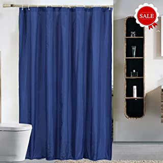 Wei Xu Shower Curtain Liner Fabric 71 by 79 inches Longer Length Hotel Quality Waterproof Spa Bathroom Curtains with Grommets (Navy Blue, 71