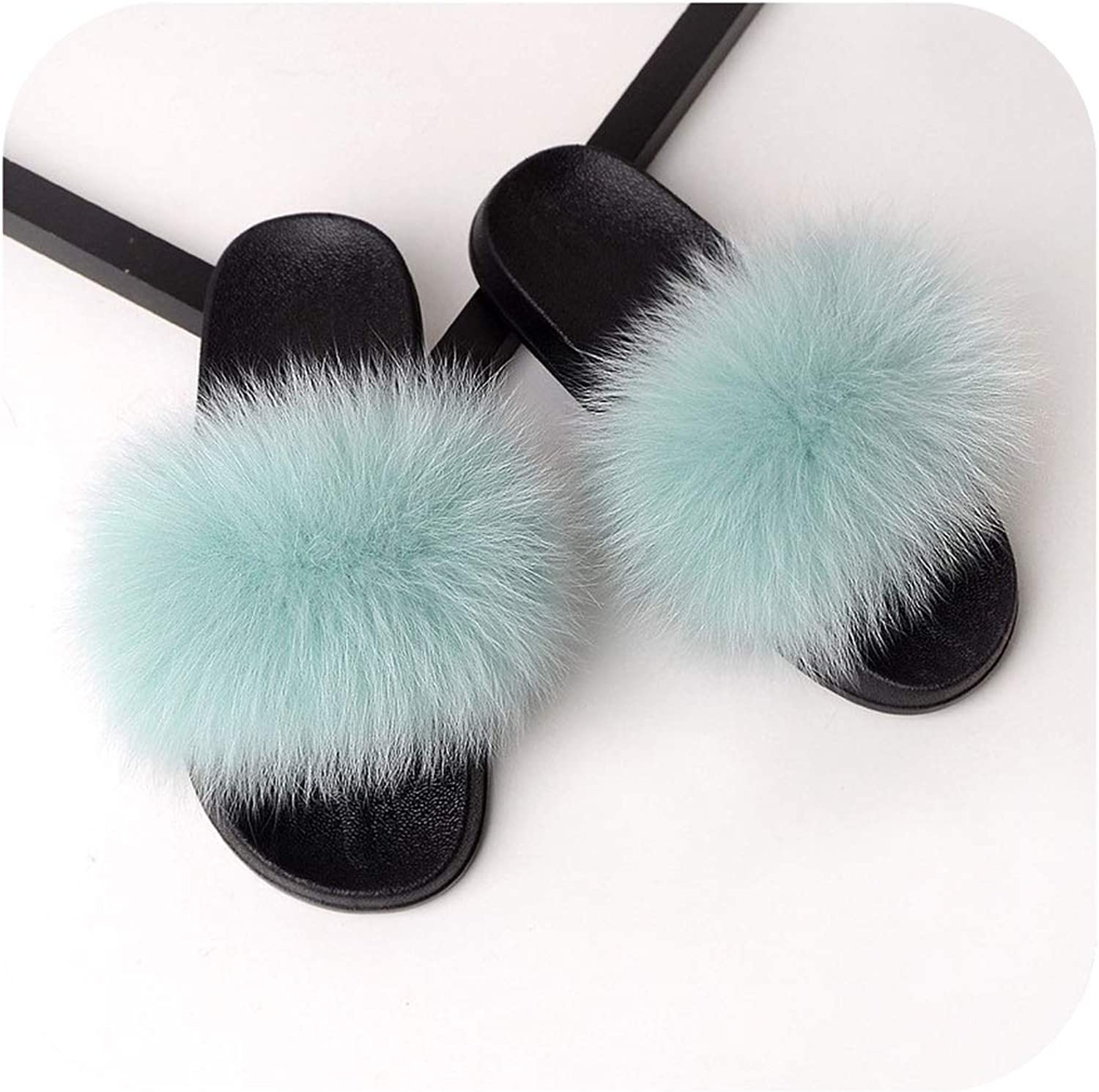 Fur Slippers Women Real Fox Fur Slides Home Furry Flat Sandals Cute Fluffy House shoes