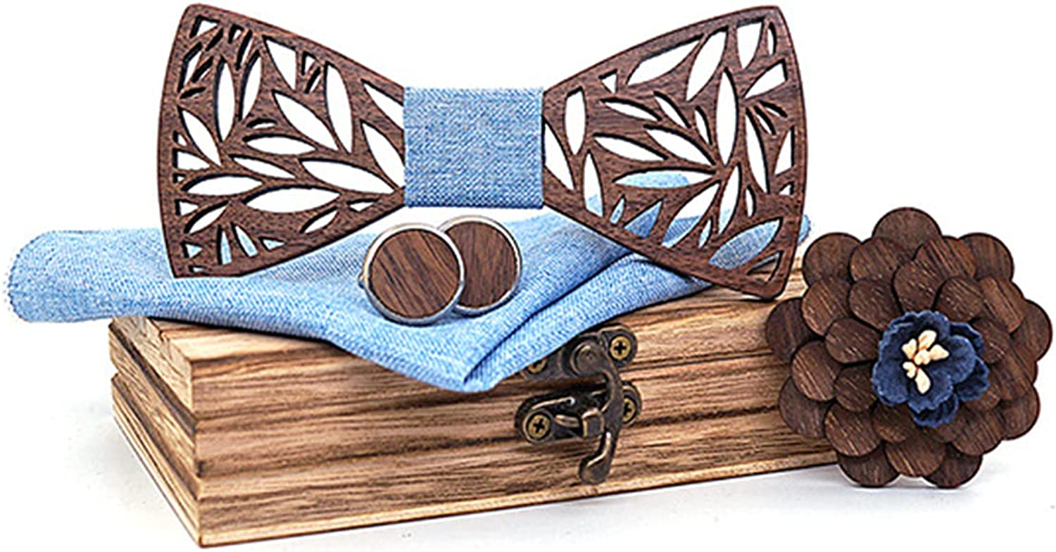 Handmade Personalized Mens Wood Bow Tie Unique with Matching Pocket Square and Men's Cufflinks Set