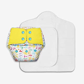 SuperBottoms Freesize UNO - Washable & Reusable Cloth Diaper containing 1 Waterproof Outer + 1 Organic Cotton Magic Dry Feel pad +1 Booster pad [Day & Night Use] (for Babies 5 KG- 17 KG)- White Warli