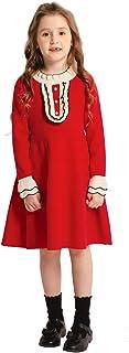 SMILING PINKER Little Girls Dresses Mock Neck Sweater Ruffle Front Knit Skater Winter Dress